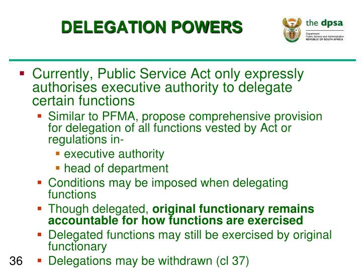 DELEGATION POWERS