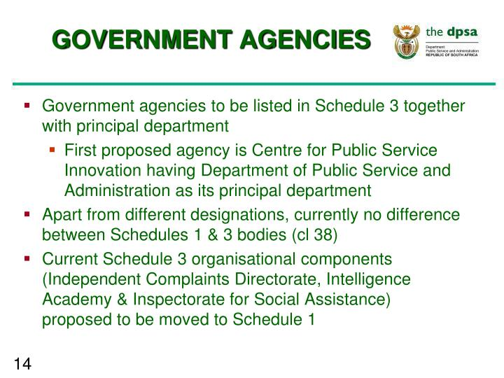 GOVERNMENT AGENCIES