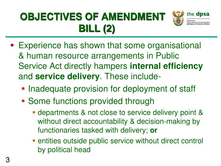 OBJECTIVES OF AMENDMENT BILL (2)