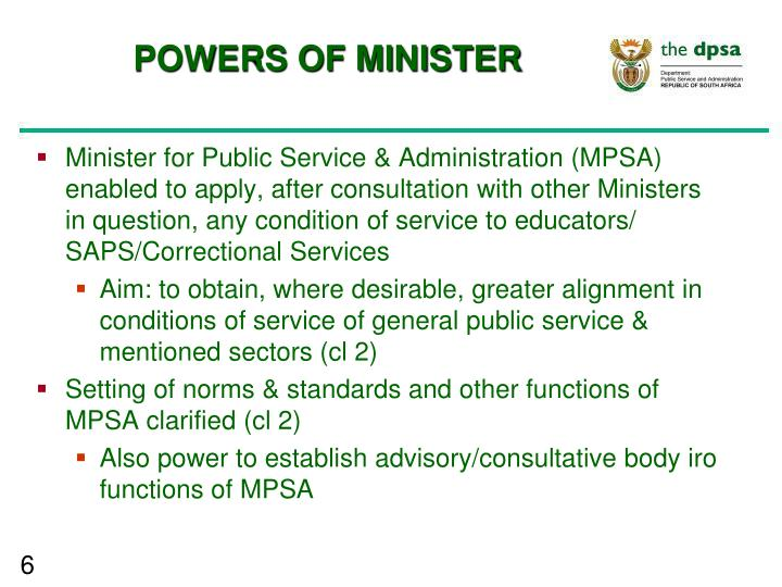 POWERS OF MINISTER