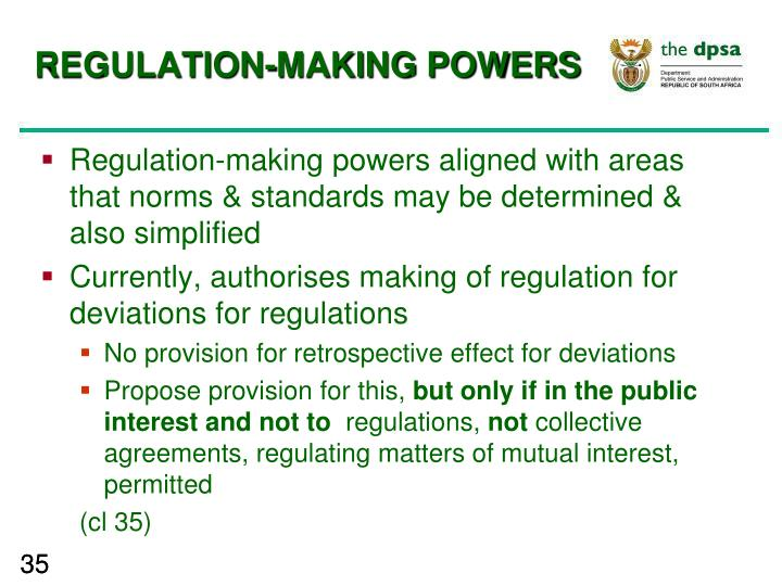 REGULATION-MAKING POWERS