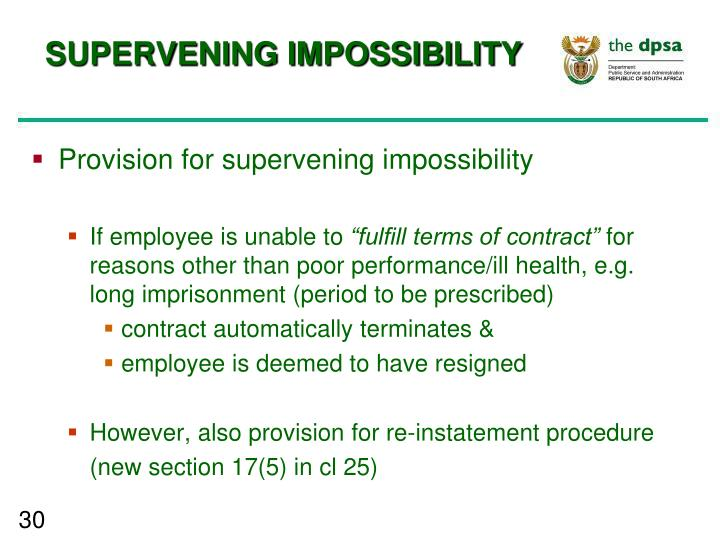 SUPERVENING IMPOSSIBILITY