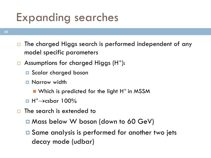 Expanding searches