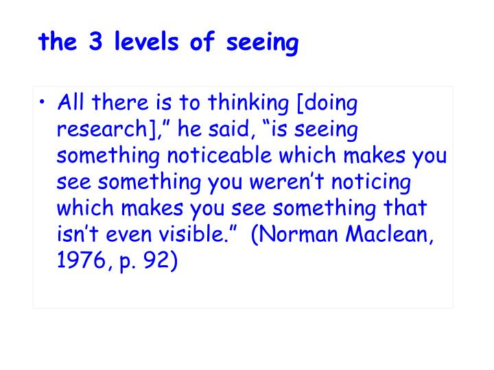 The 3 levels of seeing