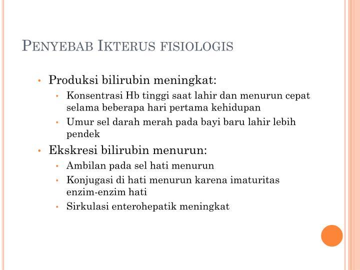 Penyebab Ikterus fisiologis