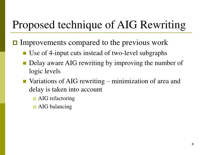 Proposed technique of AIG Rewriting