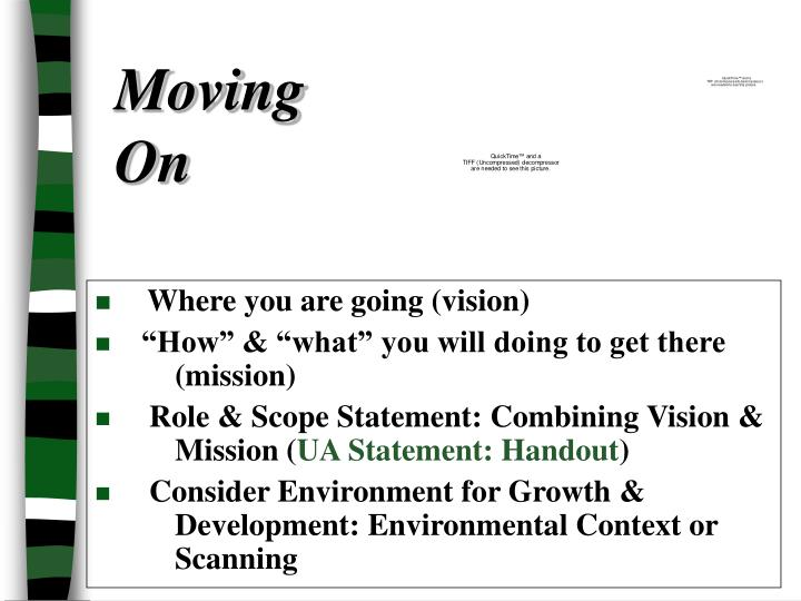 Where you are going (vision)