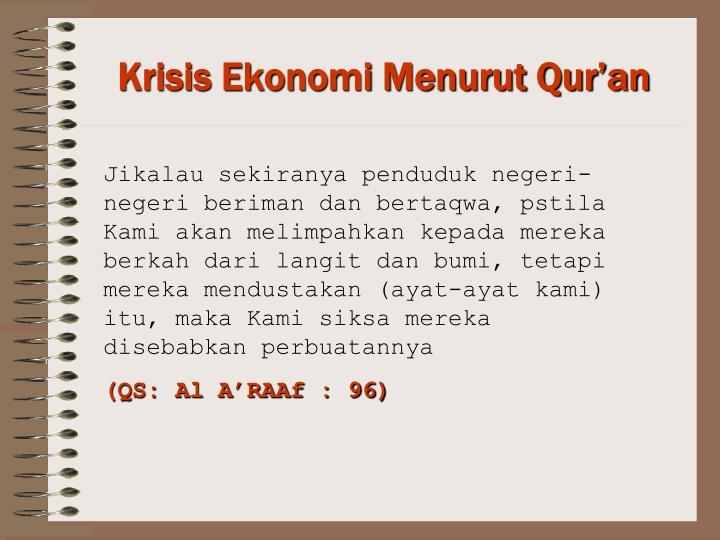 Krisis Ekonomi Menurut Qur'an