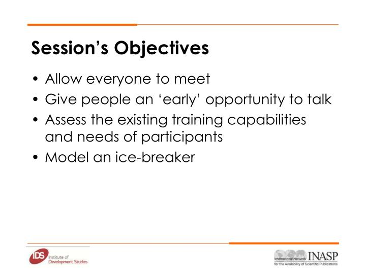 Session s objectives
