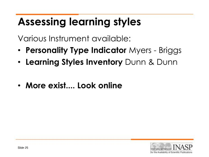 Assessing learning styles