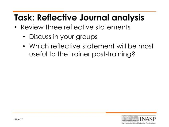 Task: Reflective Journal analysis