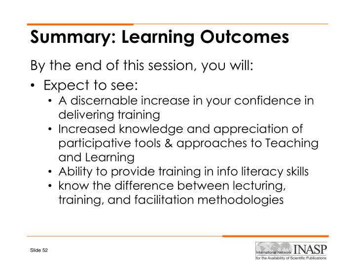 Summary: Learning Outcomes