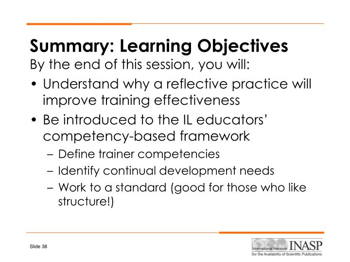 Summary: Learning Objectives