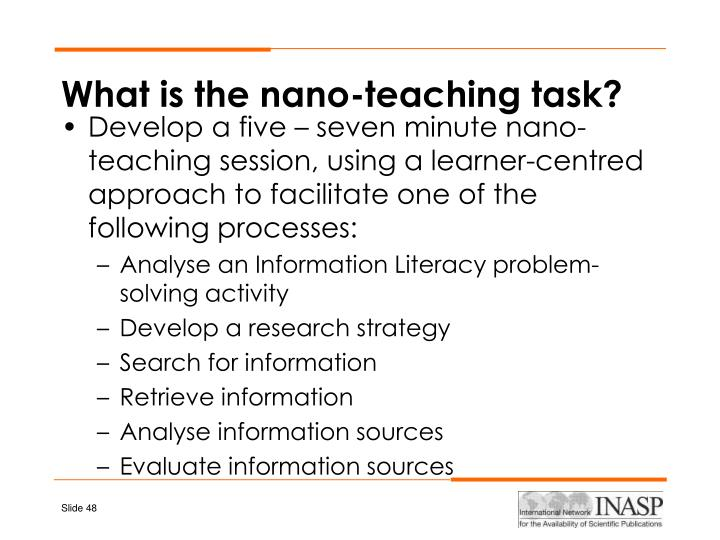 What is the nano-teaching task?