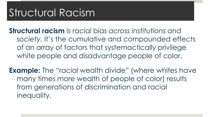 "an account of institutional racism in american society In president obama's book of fairy tales, institutional racism is merely an ""excuse"" at the 100 th anniversary celebration of the naacp obama declared: ""we've got to say to our children, yes, if you're african american, the odds of growing up amid crime and gangs are higher."