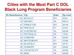 cities with the most part c dol black lung program beneficiaries