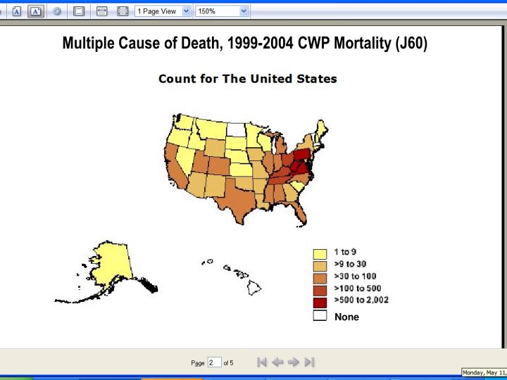 Multiple Cause of Death, 1999-2004 CWP Mortality (J60)