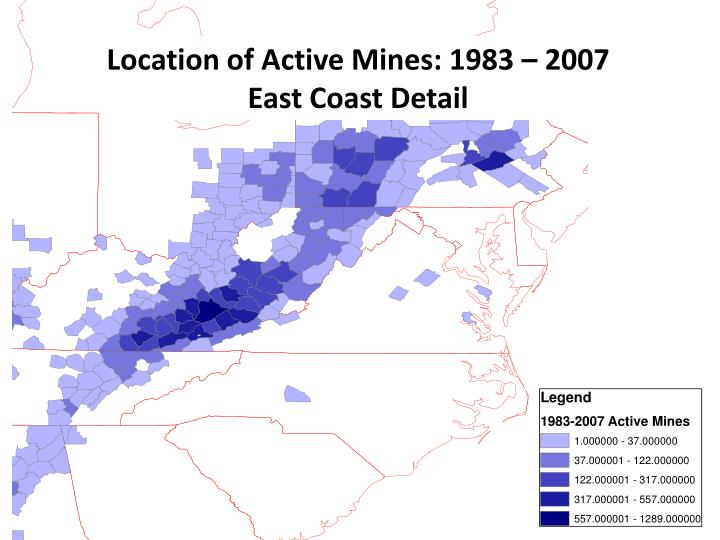 Location of Active Mines: 1983 – 2007
