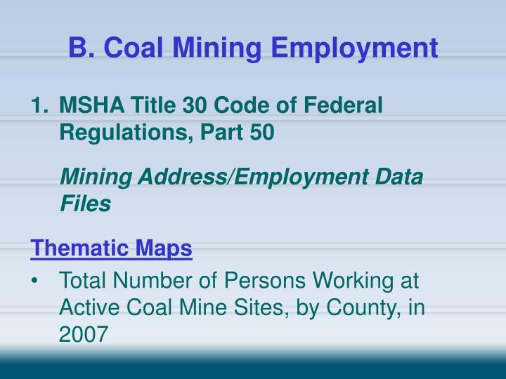 B. Coal Mining Employment