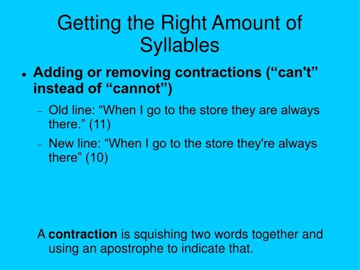Getting the Right Amount of Syllables
