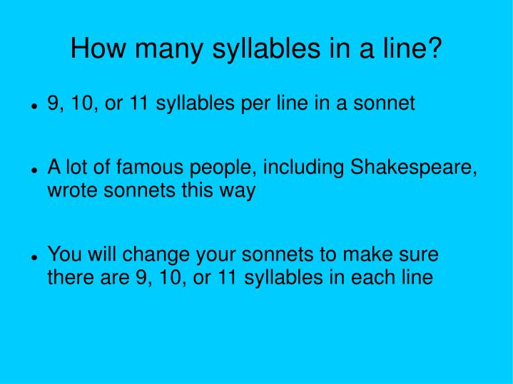 How many syllables in a line?