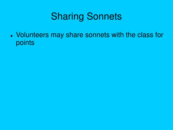 Sharing Sonnets