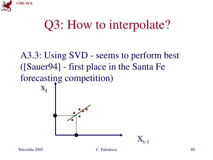 A3.3: Using SVD - seems to perform best ([Sauer94] - first place in the Santa Fe forecasting competition)