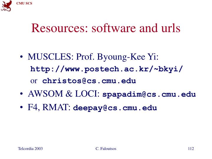 Resources: software and urls