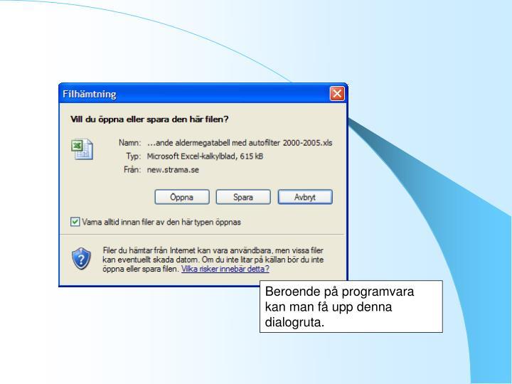 Beroende på programvara kan man få upp denna dialogruta.