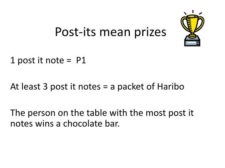 Post-its mean prizes