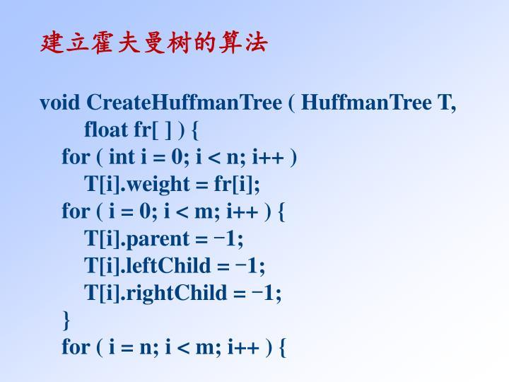建立霍夫曼树的算法