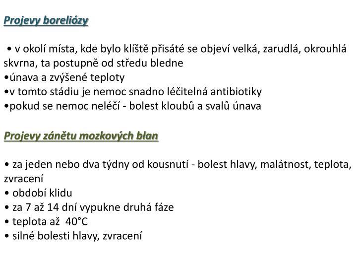 Projevy boreliózy