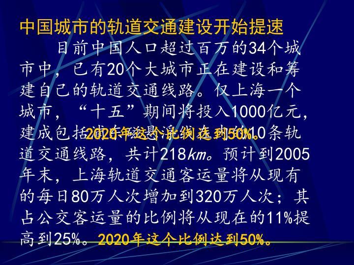 中国城市的轨道交通建设开始提速