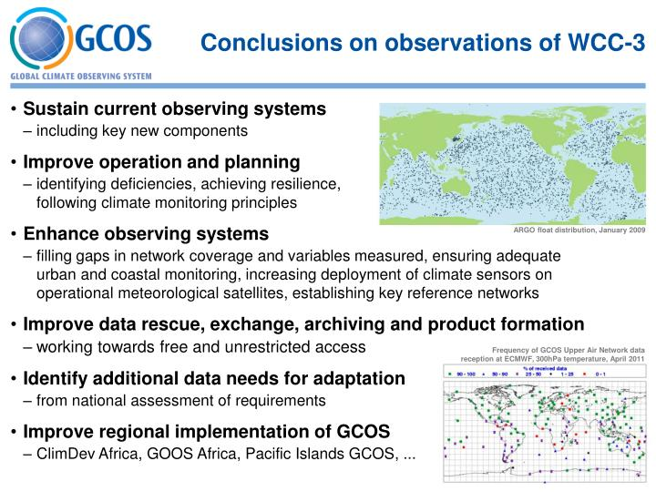 Conclusions on observations of WCC-3