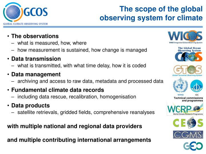 The scope of the global observing system for climate