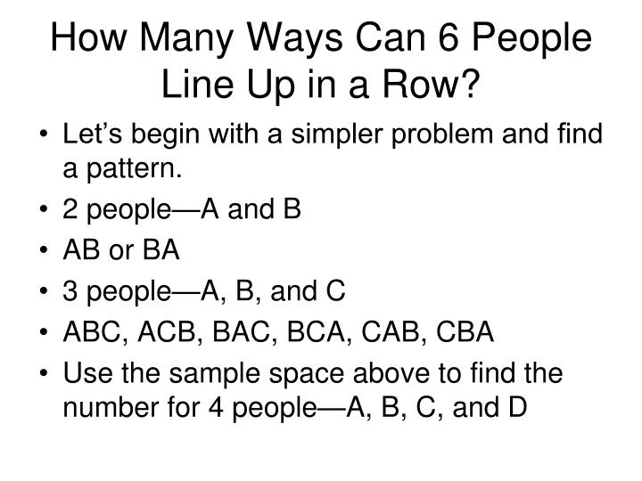 How Many Ways Can 6 People Line Up in a Row?
