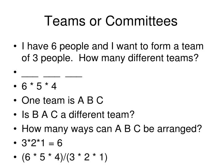 Teams or Committees