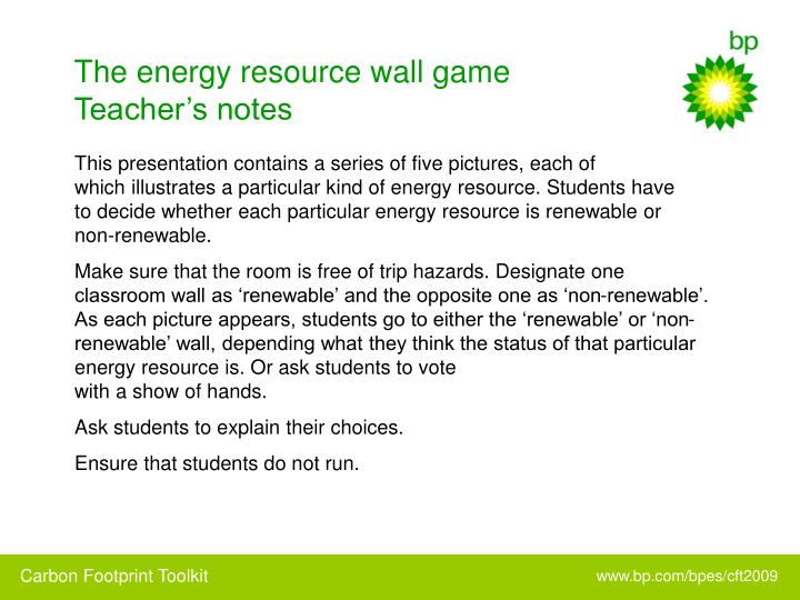 The energy resource wall game teacher s notes