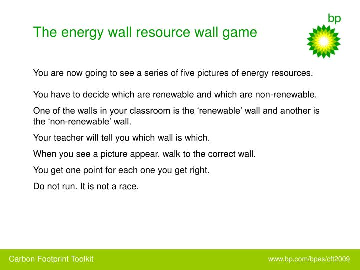 The energy wall resource wall game