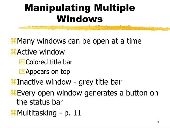 Manipulating Multiple Windows