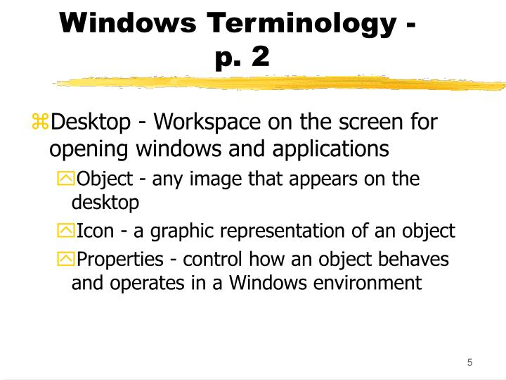 Windows Terminology -