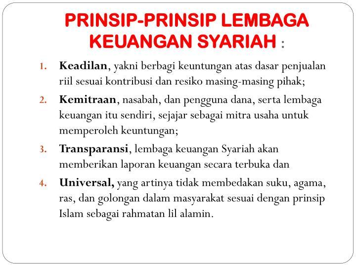 PRINSIP-PRINSIP LEMBAGA KEUANGAN SYARIAH