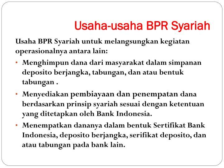 Usaha-usaha BPR Syariah