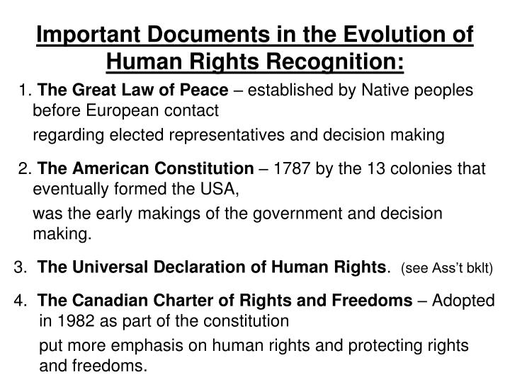 Important Documents in the Evolution of Human Rights Recognition: