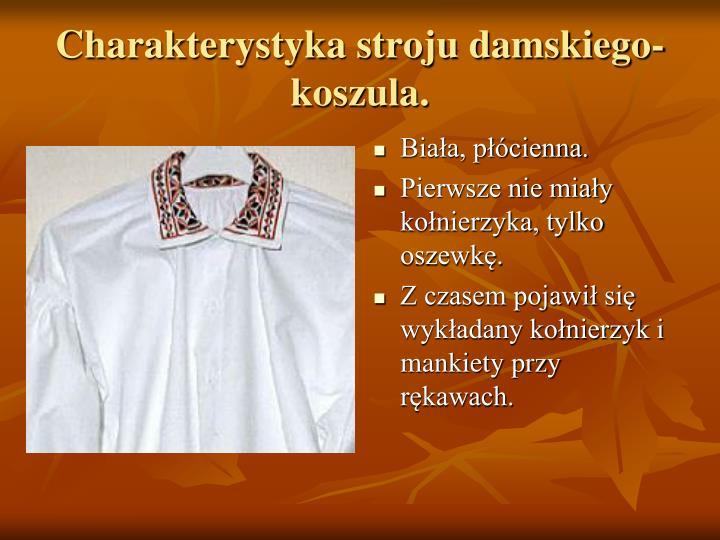 Charakterystyka stroju damskiego- koszula.