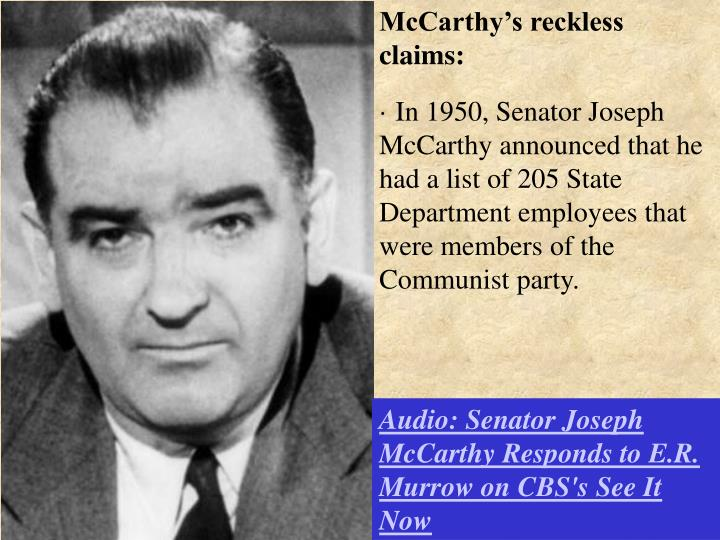 McCarthy's reckless claims: