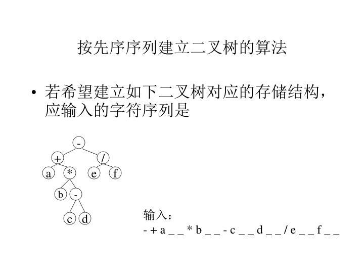 按先序序列建立二叉树的算法