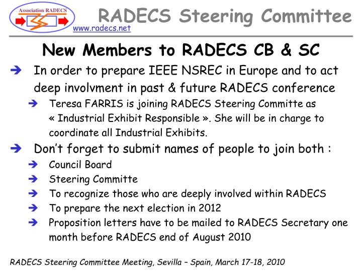 New Members to RADECS CB & SC