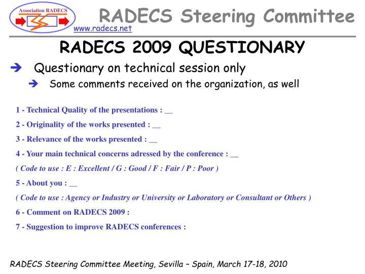 RADECS 2009 QUESTIONARY