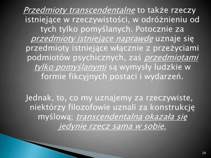 Przedmioty transcendentalne